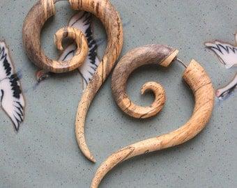 TALEEYA Fake Gauge Earrings - Hand Carved Natural Tamarind Wood - Tribal Style Jewelry