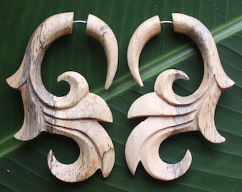 Fake Gauge Earrings - Natural Tamarind Wood - SUMITRA - Hand Carved Body Art
