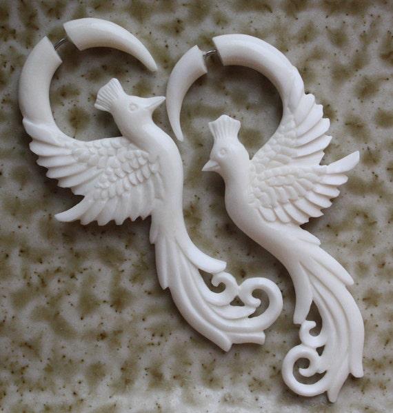 PHOENIX Earrings - Hand Carved White Bone Fake Gauges - Elegant Bird Design