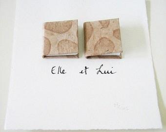 Book Art - Elle et Lui (Her & Him) - miniature books, beige, sand, urban chic, elegant, paper, wall art, couple, French text, love, 6x6