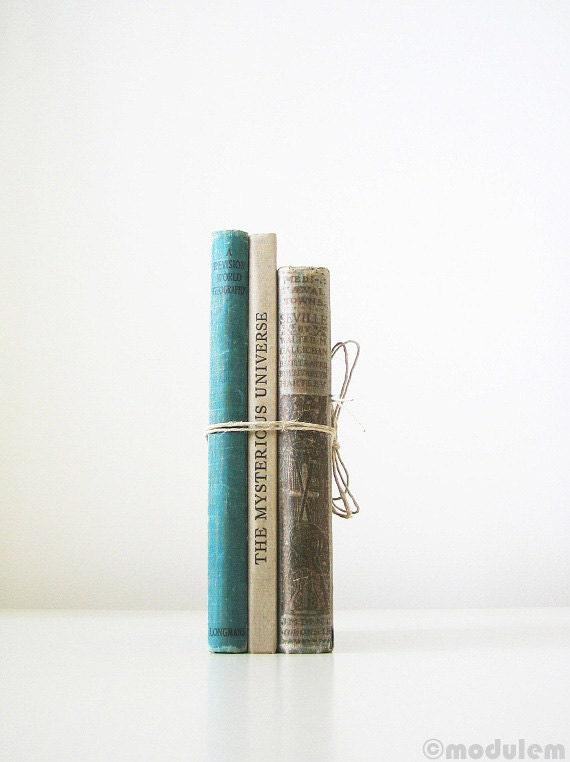 Geography, Science, and History Instant Library Collection - grey, gray, turquoise, vintage books, teal, antique, industrial decor, old