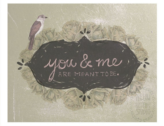 "You and Me are meant to be 8.5"" x 11"" collage illustration print"
