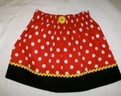 """Minnie Mouse Ladies Women's Adult Skirt Girls Size 10 up to Ladies Size 16/Waist 36"""" - Red & White Polka Dot -Ships Priority"""