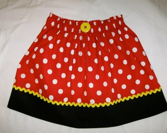 "Minnie Mouse Ladies Women's Adult Skirt Girls Size 10 up to Ladies Size 16/Waist 36"" - Red & White Polka Dot -Ships Priority"