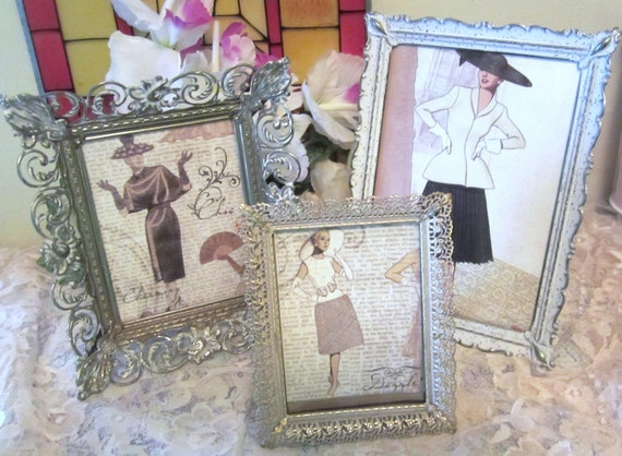 Vintage Hollywood Regency Filigree Picture Frames Trio