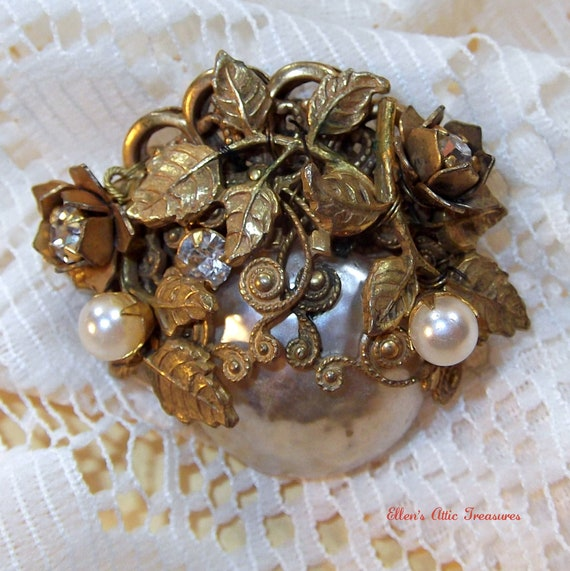 Vintage Miriam Haskell Brooch - Signed Pearl Pin