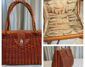 Vintage 1950s Rattan Purse Atomic Barkcloth Lining Coated Rattan Wicker Vintage