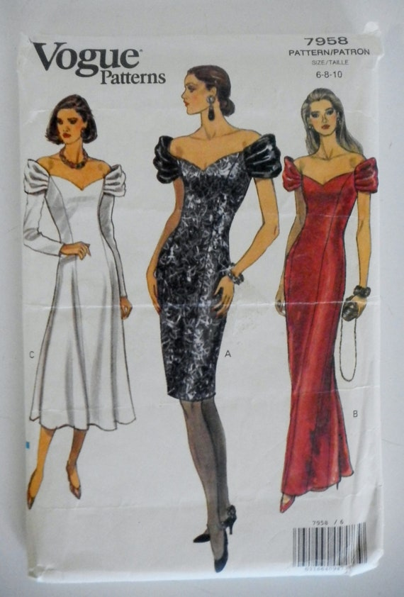 1990 Vogue Pattern 7958-Formal Cocktail or Evening Dress-Bust 30.5-32.5 Factory Folded