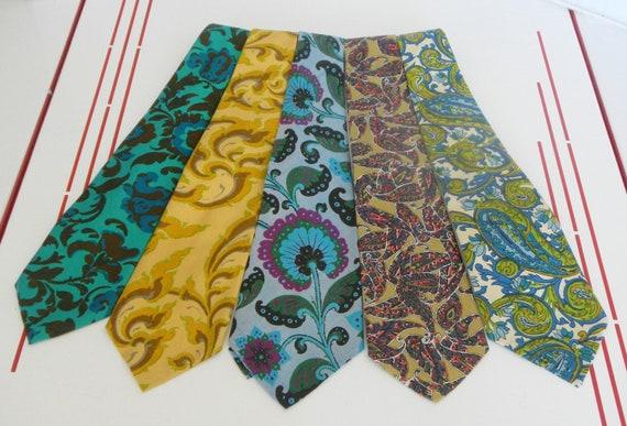 Vintage 1970s MOD Neckties-Funky Groovy Lot of 5-Retro CO0L