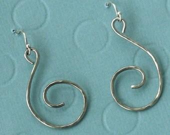 Little Swirls...hand hammered sterling silver dangles, swirl dangles, lightweight earrings, piercing, handmade sterling silver dangle