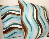 """SALE 50% OFF--Ocean Waves 18"""" Throw Pillow Cover"""