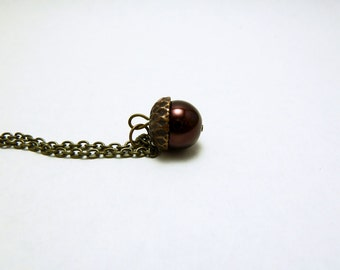 Brown Acorn Pendant - Glass Pearl Acorn Necklace