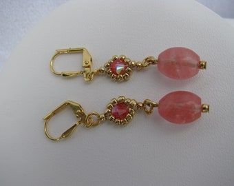 Coral Earring, Beadwoven, Gold, Coral Glass