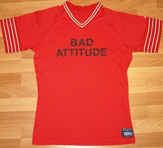 Vintage 1980's BIKE Bad Attitude Jersey Shirt T-Shirt Striped Ringer Baseball 80's