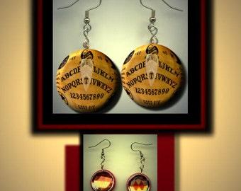 OUIJA Spirit talking board Altered Art Dangle Earrings with Rhinestone