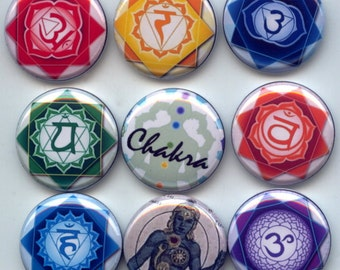 """CHAKRA Body Energy Centers Buddhism Hinduism 9 Pinback 1"""" Buttons Badges Pins"""