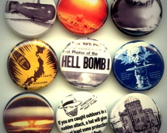 """Atom Atomic Nuclear Bomb 9 Pinback 1"""" Buttons Badges Pins"""
