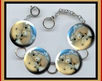 Polar Bear with Cubs Altered Art Button Charm Bracelet with Rhinestone