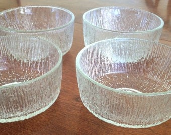 Vintage Mid Century Modern Bowls - Crystal Ice - Indiana Glass - Set of 4