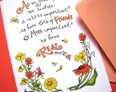 Friendship Quote Card - Best Friend Card - Girlfriend Birthday - Wildflowers Card