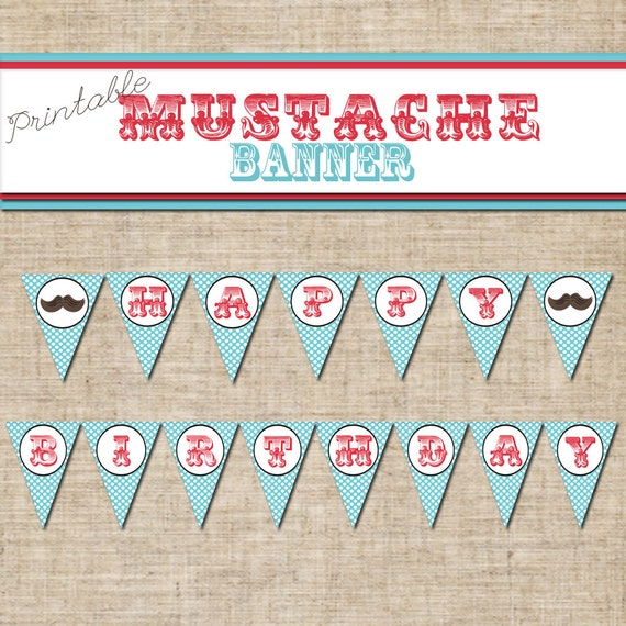 Items Similar To Printable Happy Birthday Mustache BANNER