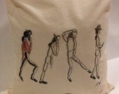 Tote Bag-cotton Tote Bag-Title M J 's moves- transfer print--colour calico-image from an original hand drawing.
