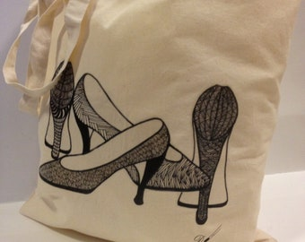 Tote Bag-cotton Tote Bag-inkjet transfer print-Title - Girly Shoes-colour calico-image from original hand drawing.