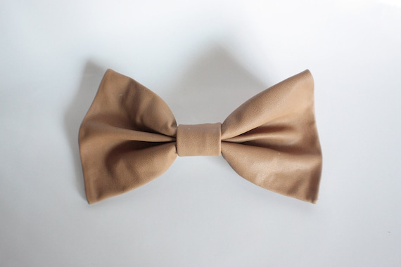Big Leather Hair Bow (TAN BROWN)