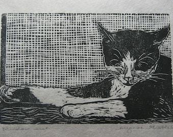 """Kitty in the windowsill block print - """"Window seat"""""""
