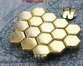 50Pcs 10mm Gold Flat Regular Hexagon Studs (JH10)