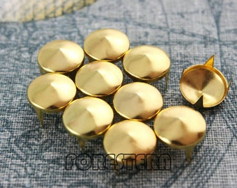 500Pcs 12mm Gold CONE Studs Metal Studs (JC12)
