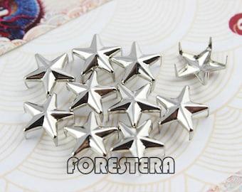 50Pcs 12mm Silver STAR Studs Metal Studs (SS12)