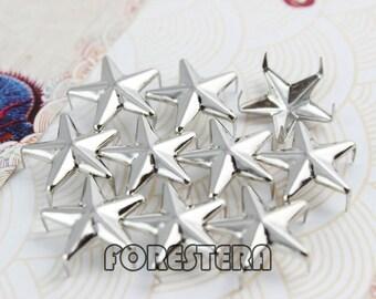 100Pcs 15mm Silver STAR Studs Big Metal Studs (SS15)