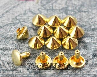 100Pcs 9mm Gold Conical Rapid Rivet Studs (JC-RI09)