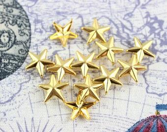 50Pcs 15mm gold STAR Studs Big Metal Studs (JS15)