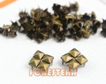 5mm Antique Brass Pyramid Stud Punk Rock Leathercraft Stud (BP05)