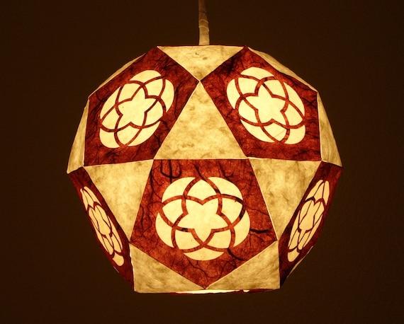 Burgundy Flower Geometric Paper Lantern