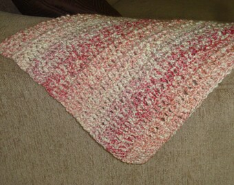 """Pink, Coral, Cream Baby Blanket 26""""x30"""""""