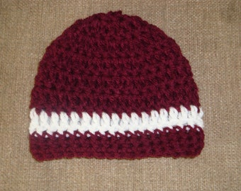 Maroon and White Crochet Hat / Beanie Texas A&M Aggie, TAMU, Mississippi State Bulldog, toddler - child - teen sizes