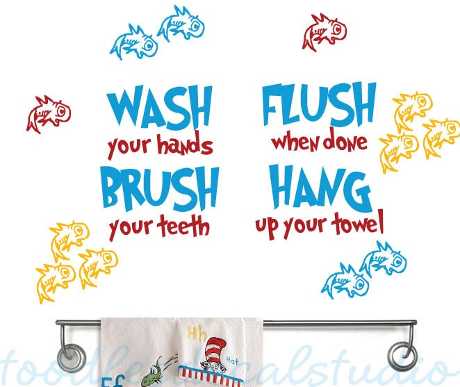 bathroom decals for kids dr seuss inspired fish bathroom vinyl wall decal 15776