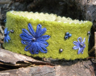 Felted ...wool bracelet cuff embroidery lime green purple lavender violet hippie hand embroidered ultra suede flower garden enchanting gypsy