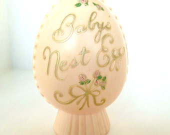 Vintage Bank Baby's Nest Egg Plastic Pale Pink Shabby Chic 50's (item 8)