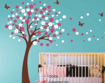 Blooming Cherry Tree wall decals nursery wall decal children wall decals girl baby kids bedroom wall decals butterfly flower