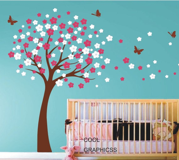 Blooming cherry tree wall decals nursery wall decal children for Cherry blossom tree wall mural