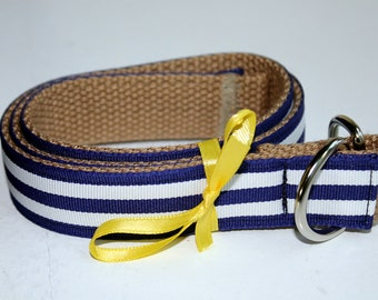 Kid Navy Stripe Belt Navy and White Belt Boys Ribbon Belt Girls Ribbon Belt Reversible Belt Khaki Belt CHildrens D Ring Belt Preppy