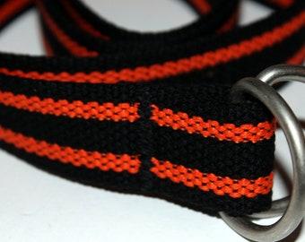 Black and Orange D Ring Belt Boys Orange Stripe Belt Orange and Black Belt Striped Canvas Belt Boys D Ring Belt Webbing Belt for Boys