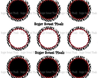 INSTANT DOWNLOAD Maroon Zebra Flower border Blank 1 inch Circle Bottlecap Images 4x6 sheets