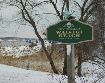 WAIKIKI BEACH  in the snow on Winter Island in Historic Salem, Ma 5X7  Photo card 5x7