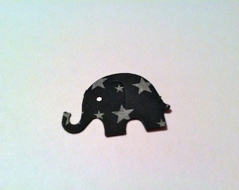 50 Black with Stars MODERN ELEPHANT DECOR Halloween Hand Punched Die Cuts  Baby Shower Confetti, Birthday party ,scrapbooking, cards 50 cs