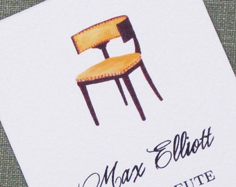 Calling Cards with Klismos Chair Illustration - Set of 50